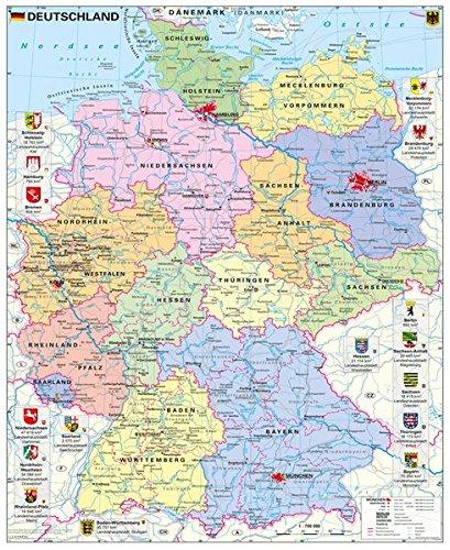Deutschland Politisch Mit Wappen Wandkarte Poster Amazon De
