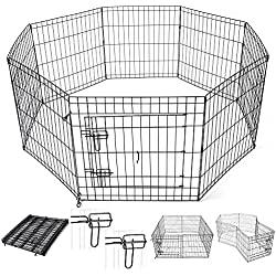 "Yescom 24"" Tall Pet Dog Playpen Foldable Metal Exercise Fence Cage Kennel with Door 8 Panel Outdoor Indoor"
