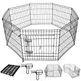 Yescom 24″ Tall Pet Dog Playpen Foldable Metal Exercise Fence Cage Kennel with Door 8 Panel Outdoor Indoor Review