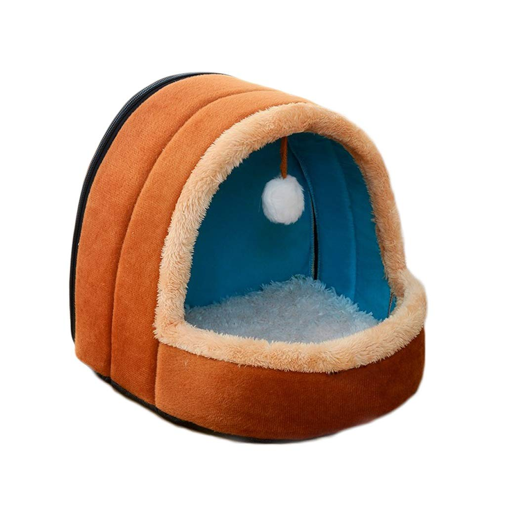 Brown M Brown M Kennel Removable and Washable Four Seasons Small Dog Cat Litter Winter House Warm Pet Nest Pet Bed Room (color   Brown, Size   M)