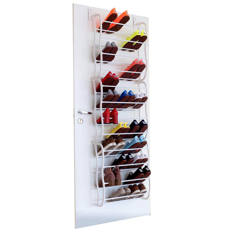 Futurebatt Over The Door Shoe Rack Holder - 36 Pairs - Hanging Shelf Storage Shoe Organizer with Hooks - White by Futurebatt
