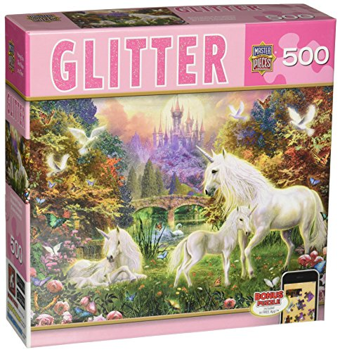 MasterPieces Glitter Enchanted Kingdom Jigsaw Puzzle, Art by Jan Patrick, 500-Piece