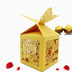 50 Pcs Laser Cut Butterfly and Flower Creative Chocolate Box Wedding Favors Candy Boxes Gifts Box Marriage Party Decors (Yellow)