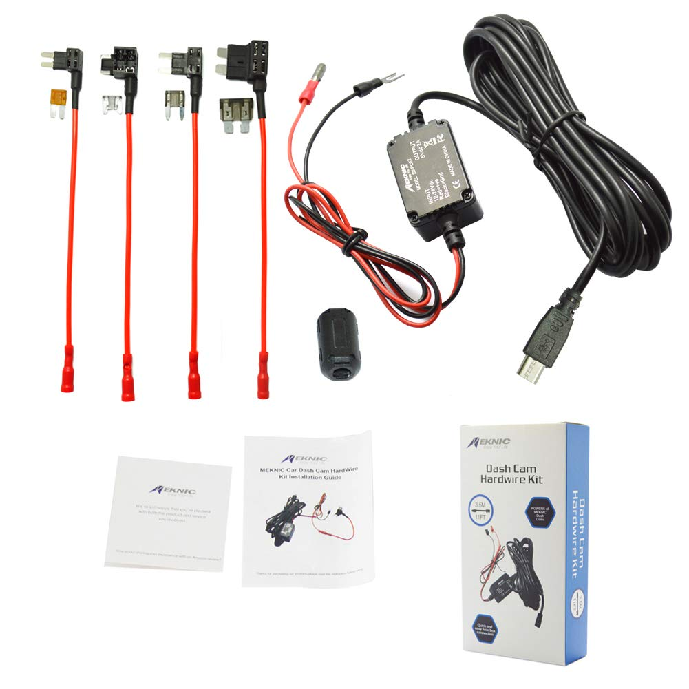 Meknic SV-PC01 Dash Cam Hardwire Fuse Kit with Hard Wire Car Charger Cable for Car DVR Camera Power Supply Vehicle Hardwiring Kit GPS Car DVR Power Box-3.5M 11FT Installation Manual Include(Mini USB) Supremevalue International CO. Ltd