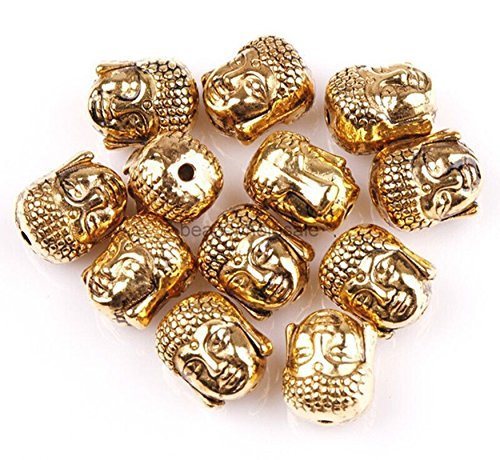 20pcs 10x8mm Charm Tibetan Buddha Head Loose Spacer Beads Jewelry Making Findings DIY (Gold Tone)