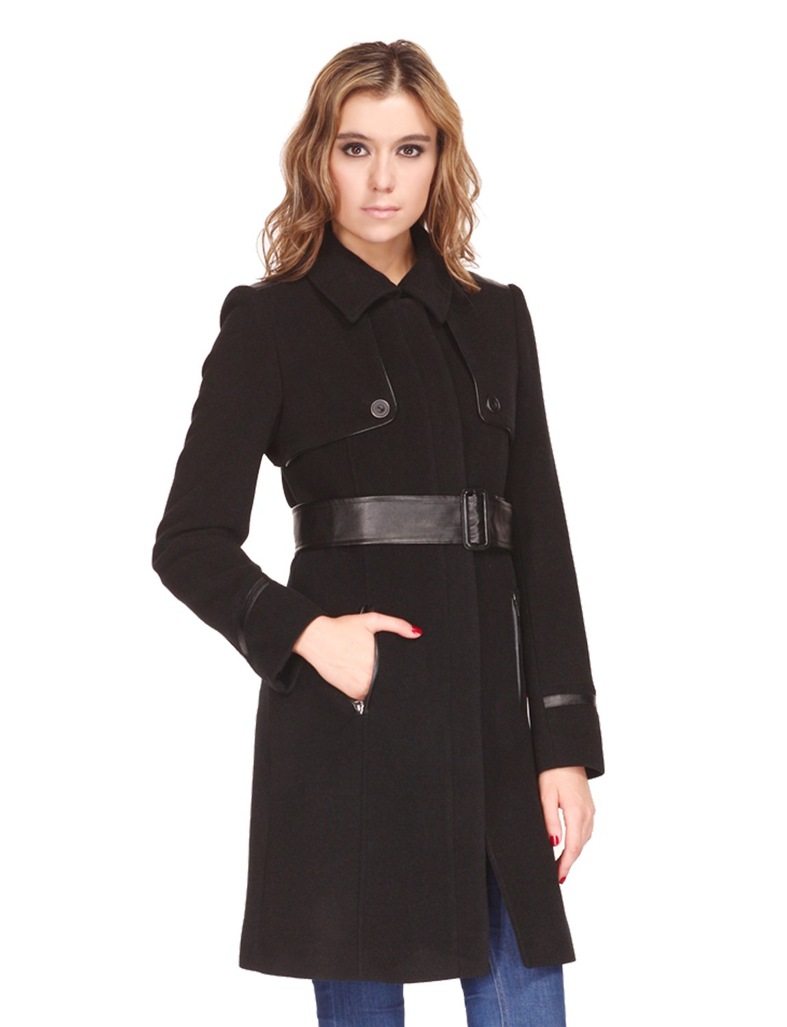 Zareen Women's Trench Style Wool Blend Coat With Leather Belt, Black, Small