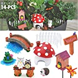Auxiwa YABANI GARDENS Fairy Garden Supplies Kit, 14 Pieces Deluxe, Adorable and Durable Miniature Accessories, For Boys or Girls, For Outdoor or Indoor Decoration