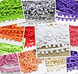 24yards 10mm Pom Pom Trim Ball Fringe Ribbon Sewing Lace (12colors/pack 2yards/color)
