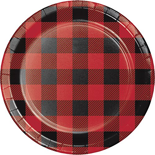 Creative Converting 321824 96 Count Sturdy Style Dessert/Small Paper Plates, Buffalo Plaid - Flannel Paper