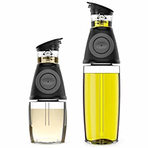 Oil Dispenser Bottle Set Oil and Vinegar Dispensers With Drip-Free Spouts - 2 Pack Oil Cruets, Includes 17oz [500ml] and 9oz [250ml] Sized Bottles