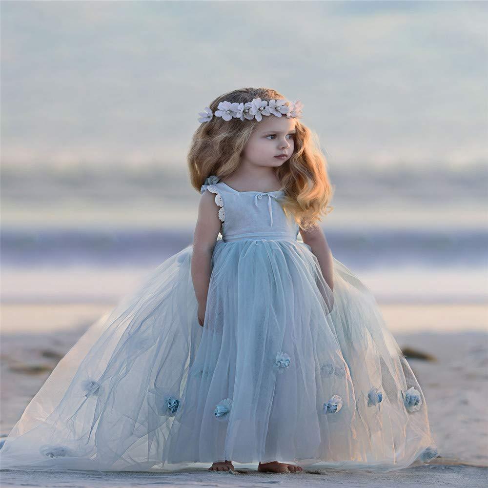 10-11T Yamyannie-Gdr Robe de Danse pour Filles, Robe de Fille de Pettijupe Fille de scène de Fleur Rose pour Enfants (Taille   12-13T)