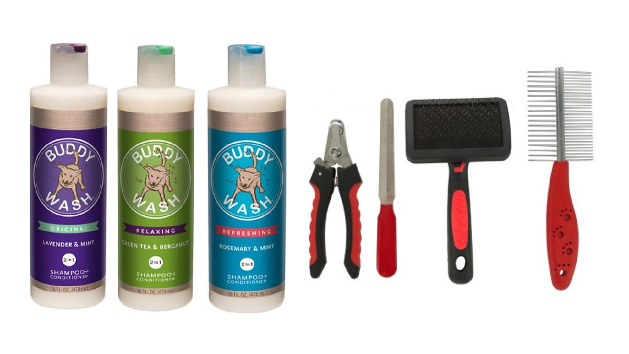Cloud Star Buddy Wash Dog Shampoo and Conditioner (3) 16 oz Bottles 1 of Each Scent Plus 1 Dog Brush by Cloud Star
