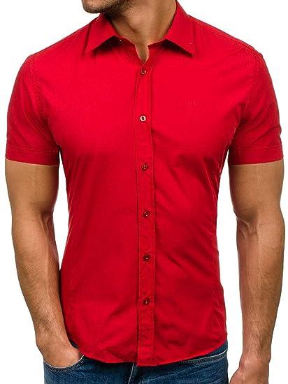 BOLF - Camisa Casual - Manga Corta - para Hombre Rojo X ...