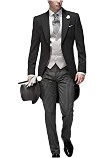 bf92d4802c JYDress Mens Tail Tuxedo 3 Pieces Tailcoat Suit Gray Groom Tuxedos Wedding  Suit