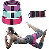 Juego de bandas de resistencia de tela para ejercicio, no se enrollan, gruesas, de tela, con cinturón de cadera para tonificar piernas, glúteos, glúteos y muslos, bandas de gimnasio para yoga, pilates, entrenamiento muscular con bolsa de transporte