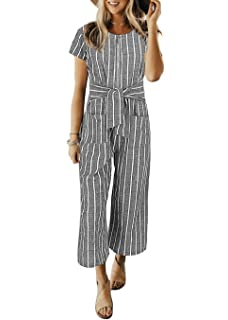 e769d35ff47 Cosygal Women Striped Linen Short Sleeves Wide Leg Jumpsuit Romper with Zip  Pockets Belt