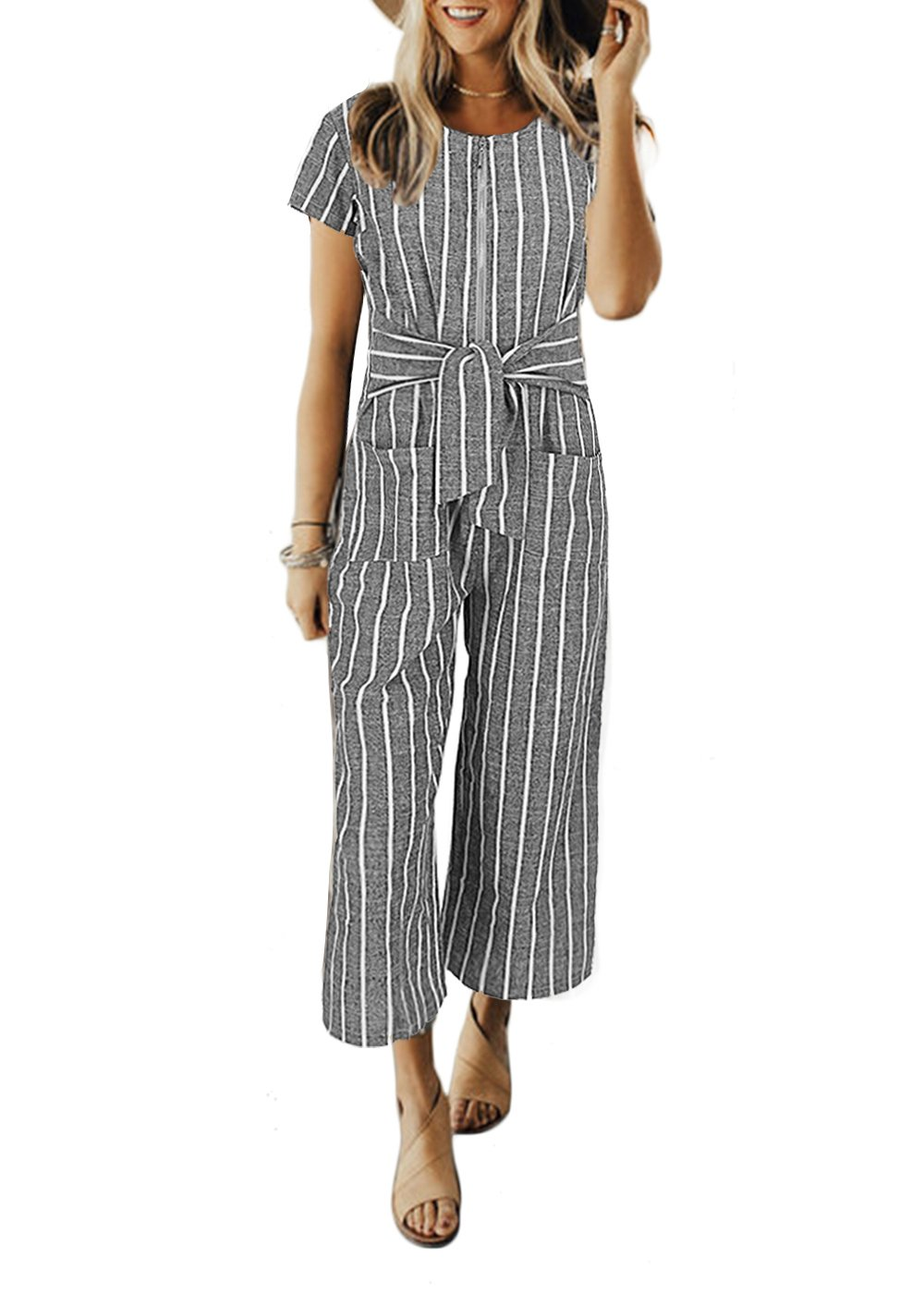 Cosygal Women Striped Linen Short Sleeves Wide Leg Jumpsuit Romper with Zip Pockets Belt