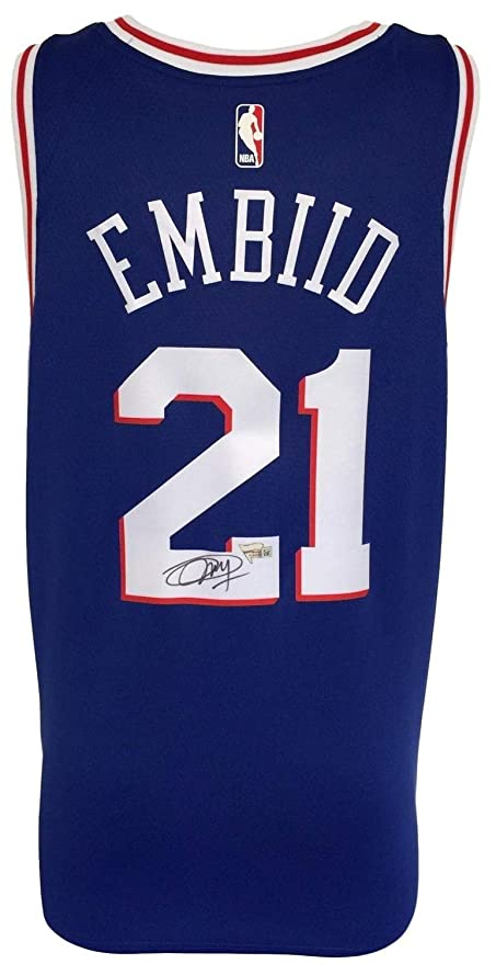 8beea5cfa7f Joel Embiid Autographed Signed Philadelphia 76Ers Blue Nike Swingman Jersey  Fanatics - Certified Authentic