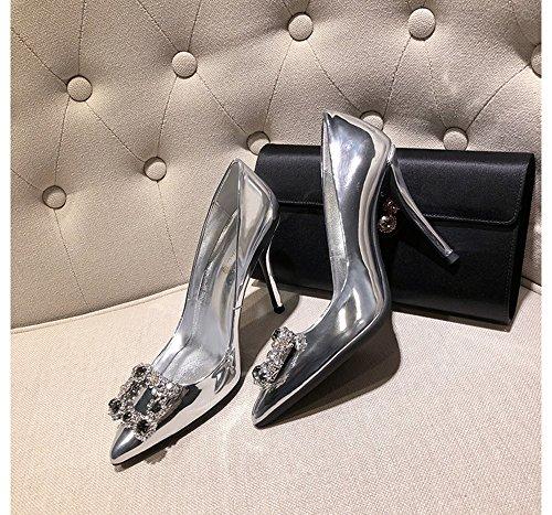 Firkantet Middag Cm Spænde 8 5 5cm Satin Kvinder Cm 40 Efterligning Diamant Silver6 Høj Enlige Accent 6 Sølv Silver8 Overfladisk farve Vilde Hæle 5cm Størrelse 5 Munden IpHqEnxIwa