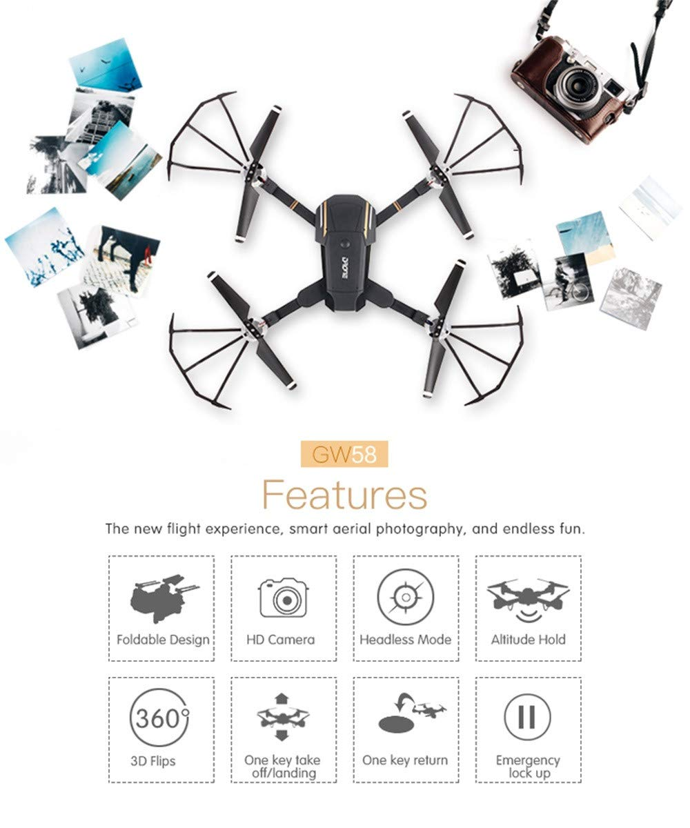 Erthome E58 Attitude Hold 2.4Ghz 4CH1080P HD Camera Wifi FPV RC Drone Selfie Quadcopter  Onekey Takeoff & Landing, 3D Flips and Headless Mode, Easy to Fly for Beginners, Great Gift