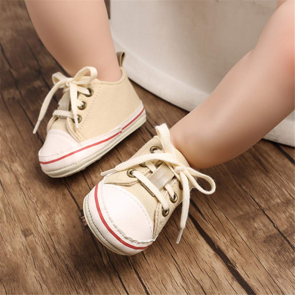 UWESPRING Unusex Baby Canvas Sneaker Lace Up Rubber Sole with Socks