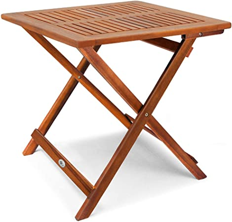 Deuba Table d\'appoint Pliable en Bois d\'acacia, Table pour Camping Jardin  70x70x73cm