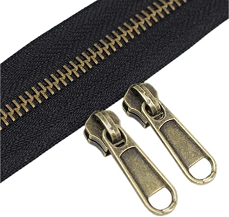 #5 Gold Metallic Nylon Coil Zippers by The Yard Bulk 10 Yards Black Tape with 25pcs Gold Sliders for DIY Sewing Tailor Craft Bag Leekayer Black