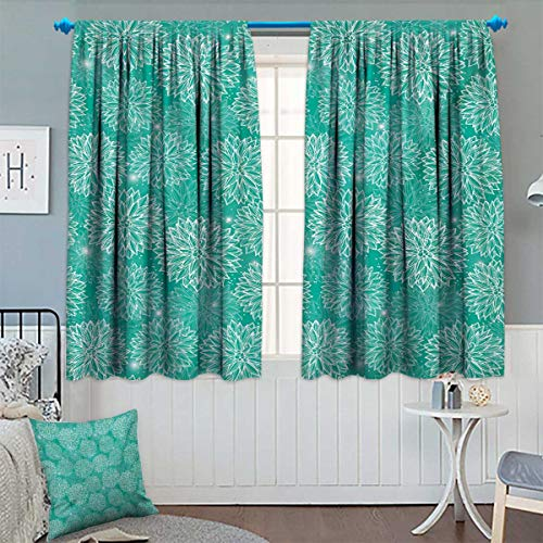 David Wright Wall Graphic - Anhounine Dahlia Flower,Blackout Curtain,Repeating Figures Fashioned Dots Spots Mother Earth Theme Peony Graphic Image,Waterproof Window Curtain,White Teal,W52 x L63 inch