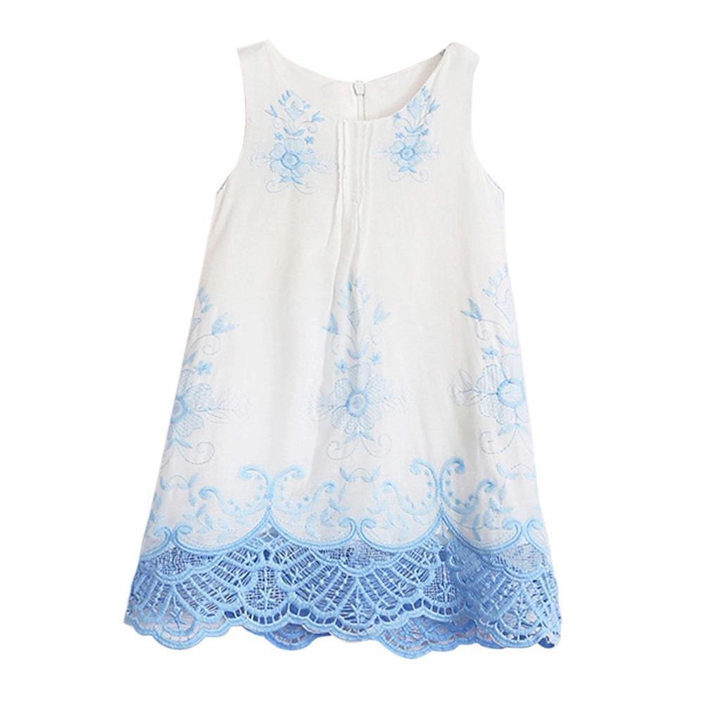 ❤ Vestidos Niñas Bebe Ceremonia, Vestidos de Bordado Sin Mangas de la Princesa de Las Muchachas del Bebé Vestidos de Fiesta de la puntilla Azul del ...