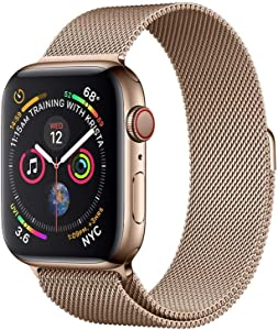 Apple Watch Series 4 (GPS + Cellular, 40MM) - Gold Stainless Steel Case with Gold Milanese Loop Band (Renewed)