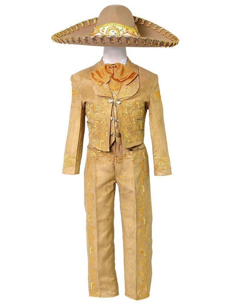 Calla Collection USA Little Boys Tan Embroidered Mariachi Pants Jacket Hat Set 4