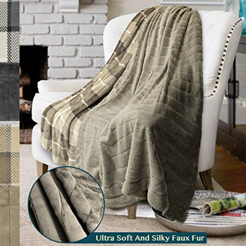 (PAVILIA Premium Plaid Fleece Faux Fur Throw Blanket | Super Soft, Cozy, Lightweight Microfiber, Reversible, All Season for Couch or Bed (Taupe, 50 x 60 Inches))