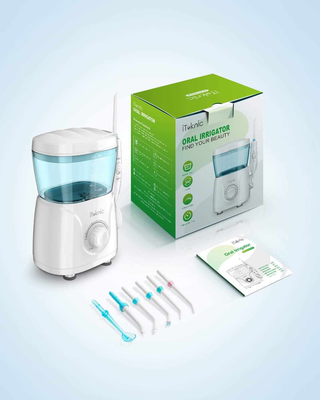 iTeknic Water Flosser Dental Oral Irrigator for Teeth Brace Clean with 10 Adjustable Water Pressure