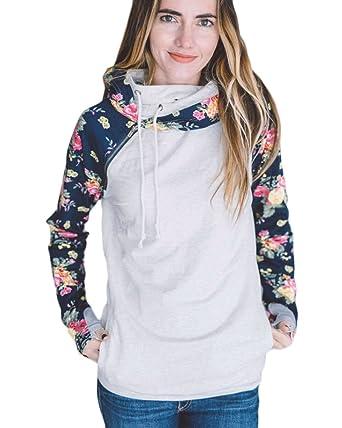 8dec34e91ad Fashion Women Floral Splice Jumper Drawstring Hoodie - Dark Blue and Grey