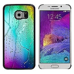 TopCaseStore / la caja del caucho duro de la cubierta de protección de la piel - Neon Colors Rain Glass - Samsung Galaxy S6 EDGE SM-G925