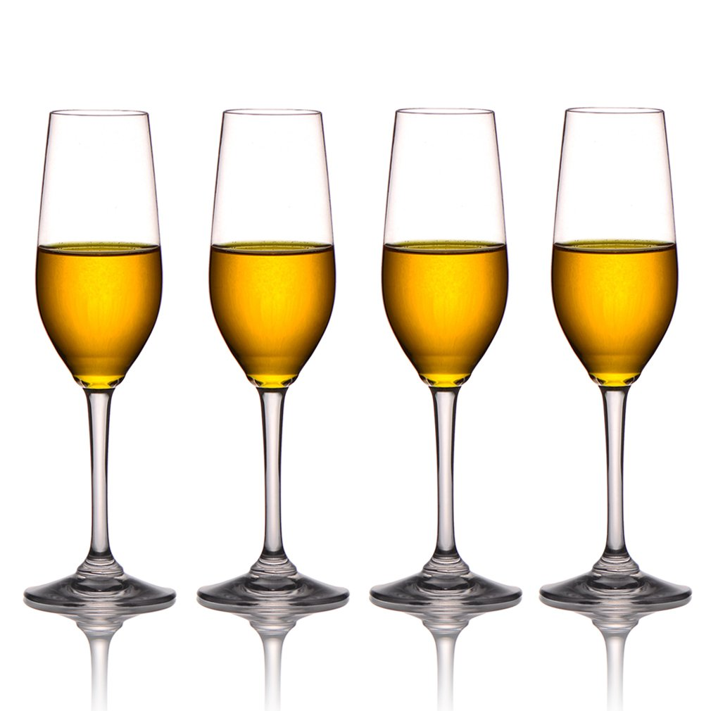 MICHLEY Unbreakable Champagne Flutes Glasses, 100% Tritan Shatterproof Wine Glasses, BPA-free, Dishwasher-safe 8 oz, Set of 4 JYCP-007