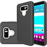 LG G6 Case,Suensan Dual Layer Armor Defender Protective Shock Absorbing with Hybrid Soft silicone and Hard PC Design Cover for LG G6 (2017) (Black)