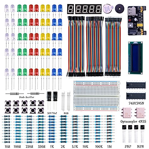 (Electronics Components Supplies Super kit, Starter Electronic Kit for Arduino UNO, Raspberry Pi [led, Dupont line, Breadboard, LCD 1602.)