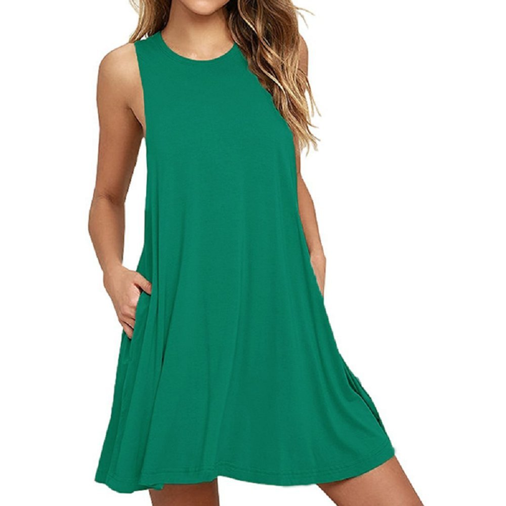 Sl Grass Green Liohya Women's Long Sleeve Pocket Casual Loose TShirt Dress