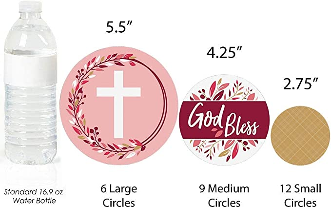 Party Decorations Large Confetti 27 Count Girl Religious Party Giant Circle Confetti Big Dot of Happiness Pink Elegant Cross