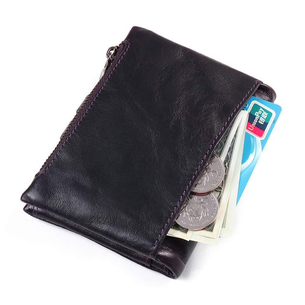 Color : Color Brown, Size : OneSize Fishagelo Men Women Vintage Genuine Leather Tri-fold Wallet Card Holder