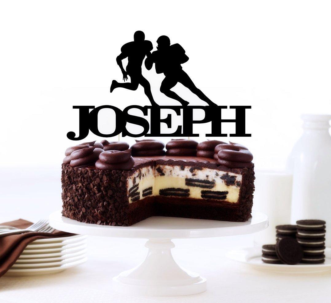 Football Cake Topper, Personalized Football Player, Athlete, Sports Theme, Boys Birthday Party, Personalized Keepsake, College Cake Topper