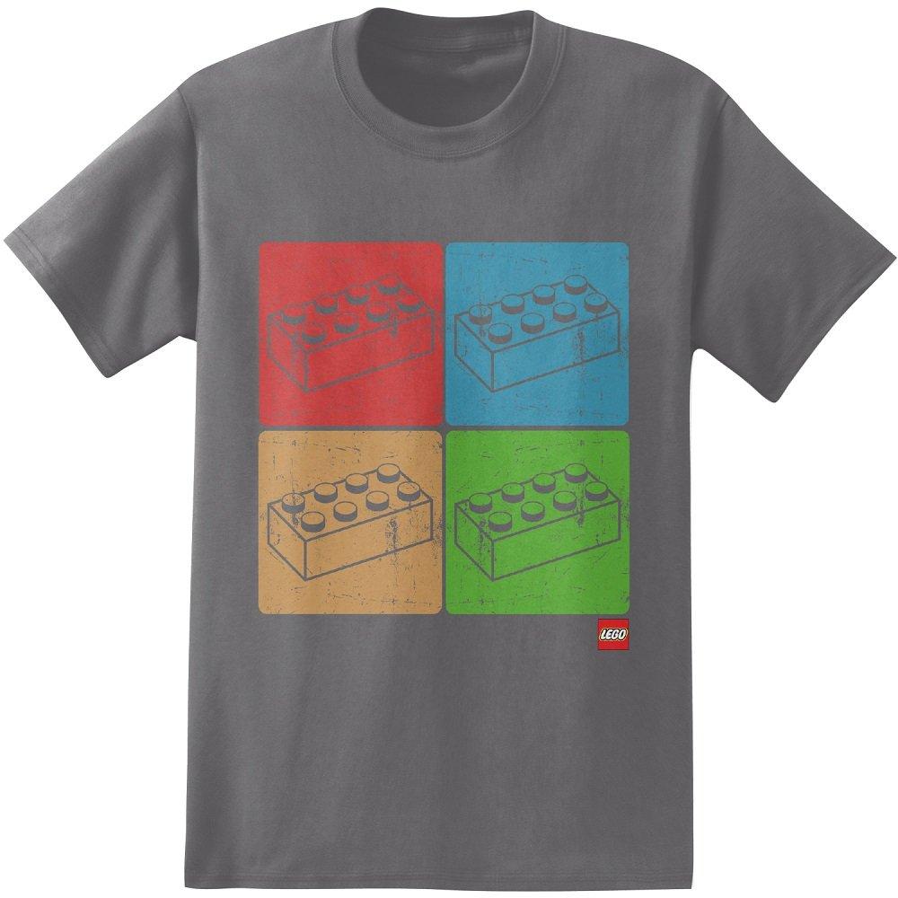 Lego Four Blocks Adult T-Shirt-Grey (Large)