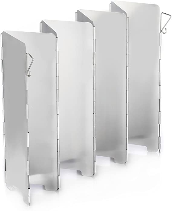 Ecent Parabrisas Camping Aleación de Aluminio Plegable para Camping Cocina Estufa de Gas Escudo Pantalla de Viento Cortavientos al Aire Libre