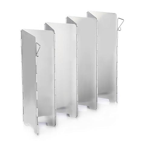 Ecent Parabrisas camping Aleación de aluminio plegable para Camping cocina estufa de gas escudo pantalla de