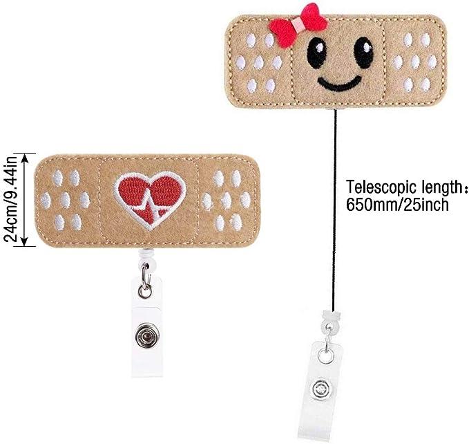 Gobesty Porta bobina per badge infermiera 6 pezzi Porta bobina per badge infermiera Benda per badge retrattile Bobina badge in feltro carino con clip a coccodrillo per infermieri insegnanti regali