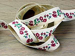 25mm Vintage Style Floral Print Cotton Rustic Webbing Ribbon Cream - per metre