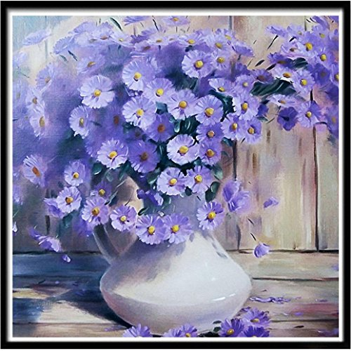 Fineser(TM) 5D DIY Diamond Painting kit,Full Rhinestone Embroidery Cross Stitch Picture Arts for Craft Home Wall Decor (Purple Daisies)