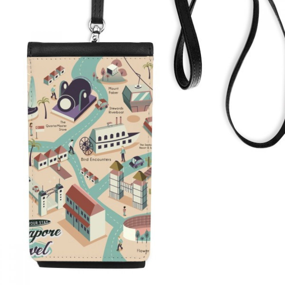 Singapore Travel Sightseeing Route Faux Leather Smartphone Hanging Purse Black Phone Wallet Gift