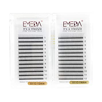 6c89ad18f31 Amazon.com : Volume lash Extensions C Curl .10 12mm 14mm 2 Packs 3D Premade  Fans Russian Individual Cluster Eye Lashes W Pre Made Fanned Lash Extension  Set ...